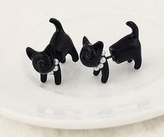 """Purrrl"" Black Cat Earrings"