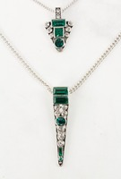 Crystal Emerald Layered Necklace and Earrings set