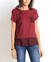 Doe and Rae Plaid Pocket Tee