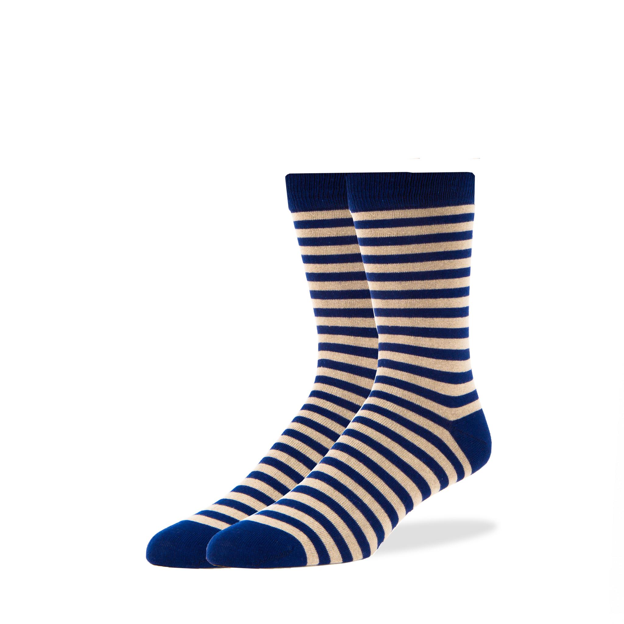 Navy/Tan Striped Socks