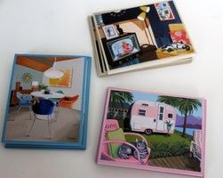 Blank Retro Cat Note Cards Set