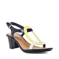 Luxury Rebel Anita Colorblock sandal - Navy/yellow/white - size 8