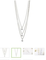 """Melody """"Sing"""" 18k White Gold Plated Layered Necklace"""