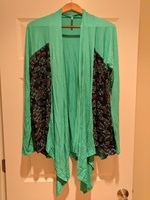Flamingo thin knit mixed media cardigan, Size Medium