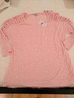 Naked Zebra cold shoulder pink tee, size small