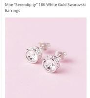 "Mae ""Serendipity"" 18k white gold Swarovski earrings"