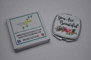 """Erin Elyse Designs Compact Mirror """"You Are Beautiful"""""""