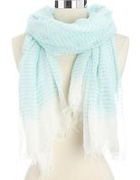 Lightweight striped scarf in mint/white