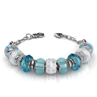 "Aurora ""Bright"" 18k White Gold Plated Swarovski Beaded Bracelet - Blue"