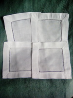 Hemstitch Linen/Cotton Coaster Set Of 4 White