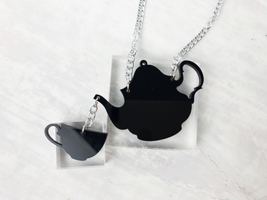 Tea Party Acrylic Statement Necklace