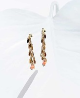 4 Crosses Elsa earrings by Sophie Vallois, gold with sea bamboo coral bead