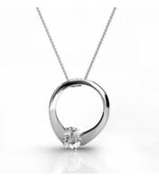"Dahlia ""Blossom"" Sterling 18k White Gold Plated Swarovski Circle Ring Necklace"