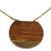 Wood and brass earth and fire necklace