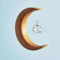 Wood and Crystal Hanging Suncatcher