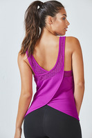 Fabletics Demi Crossback Tank in Magenta Orchid