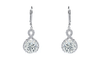 """Alessandra """"Vision"""" 18k White Gold Plated Drop Earrings"""