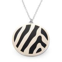 Halcyon Days Zebra Print Black & Palladium Pendant