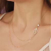 Golden leaf & pearl necklace