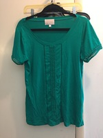 Skies are Blue teal top with embroidery