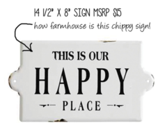 Creative Co-Op Happy Place Enamel Sign