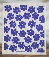 Three Bluebirds Swedish Dishcloth in Blue Poppies