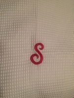 """Boca Terry """"S"""" Monogrammed adjustable spa wrap in white"""