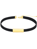 3 row suede choker with gold sliding bar