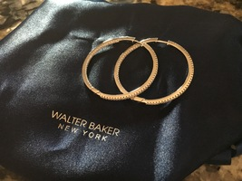 Walter Baker Swarovski Crystals Pave Hoop Earrings, Silver