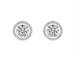 "Ariel ""Tempest"" 18k White Gold Halo Earrings"