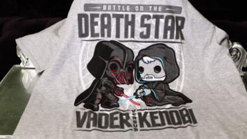 Star Wars Death Star Vader VS Kenobi T-shirt - Size Large - Grey