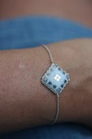 Rose et Marius Silver and Porcelain Bracelet in Blue Casteu Design