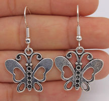 Sterling silver plated butterfly earrings (boho)