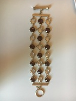 3 Row Gem Stone Toggle Bracelet, gold/brown/crystal, rivka friedman