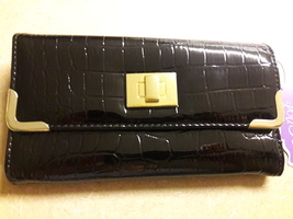 Faux Black Snakeskin Wallet/Clutch with Gold Tone snap front
