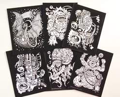 Monsters Velvet Coloring 6-Pack