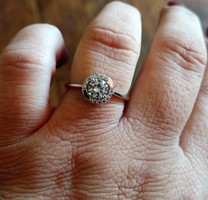 Faux Diamond Ring (with Silver Band) - Size 9