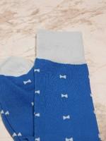 Blue bow tie print socks