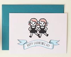 Happy Galentine's Day postcard