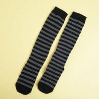 Richer Poorer Wool Striped Nora Sock in Charcoal & Black