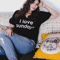 I Love Sundays Shirt By Peace Love World M Victoria