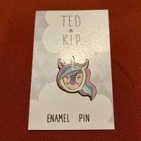 Ted & Kip Rainbow Unicorn Enamel Pin