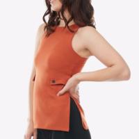 Glamorous Orange Side-Strap Mod Retro Tank Top XS