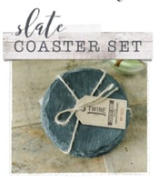 Twine Country Home Circle Slate Coasters, Black