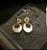 Gold & White Dangle Earrings