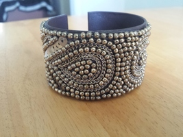 Gold beaded cuff bracelet