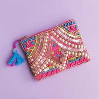America & Beyond Hand-Beaded Pouch