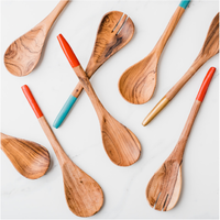 Badala Hand-painted Olive Wood Serving Spoons