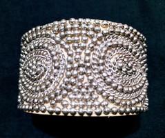 Silver Beaded Cuff Bracelet