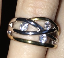 Alta Vintage Rhodium Plated Ring CZ/Gold/Silver